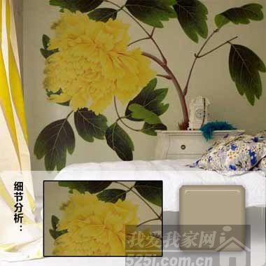 手绘工笔花卉图案背景墙