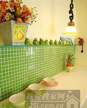 绿色的马赛克背景墙