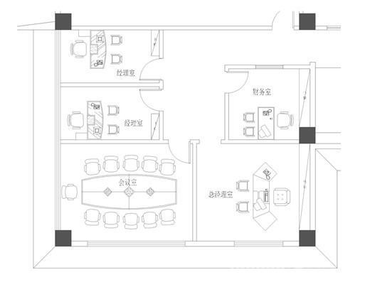 80平辦公室裝修平面圖