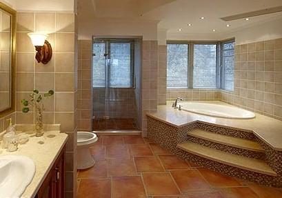 复古气息十足的深棕色地板砖,与厨房内的深木色地柜和吊柜,营造出图片