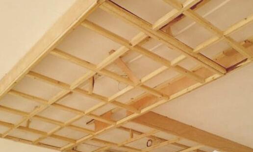 楼板木龙骨吊顶框架结构图
