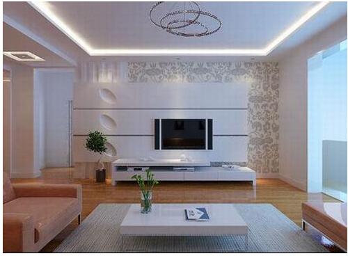 这种类型的电视背景墙造型一般是对电视墙基本框架做一个矩形的造型