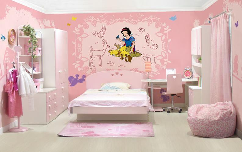 儿童房手绘墙 清新淡雅背景墙