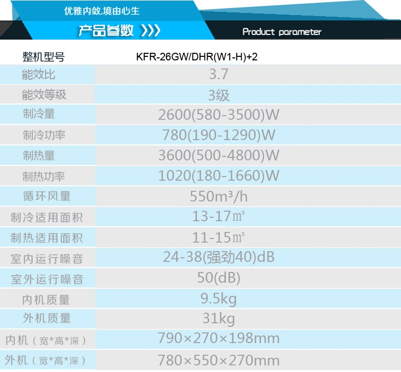 长虹空调型号:kfr-26gw/dhr(w1-h)+2