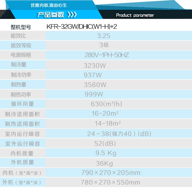 长虹空调型号:kfr-32gw/dhic(w1-h)+2
