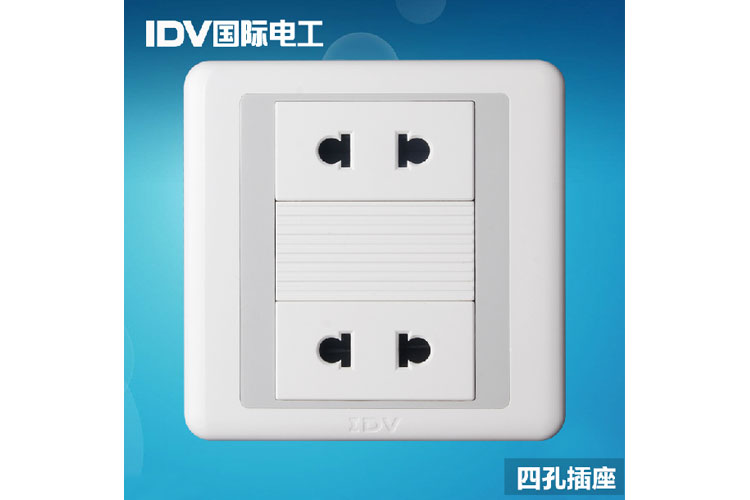 【idv国际电工四孔86型墙壁开关电源插座面板10a暗装