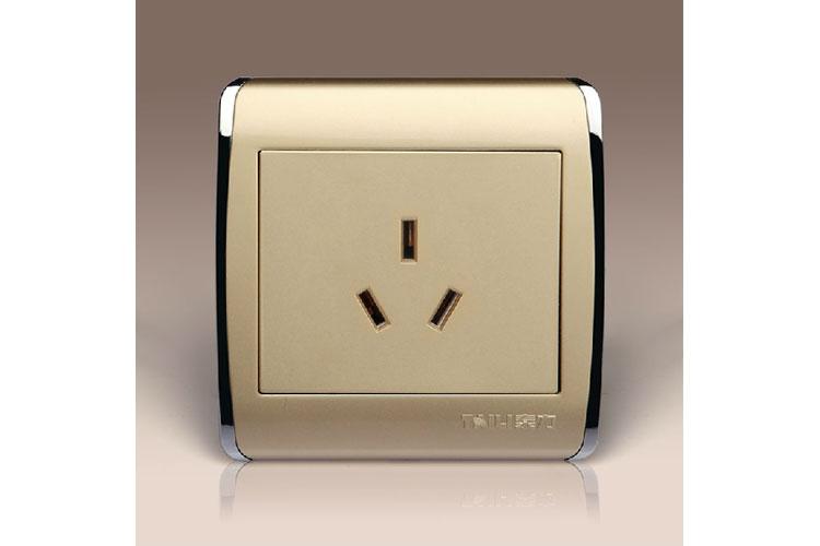【泰力开关面板86th香槟金-16a空调插座三孔插座