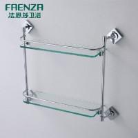 法恩莎卫浴 浴室双层置物架玻璃架:FGJ2916