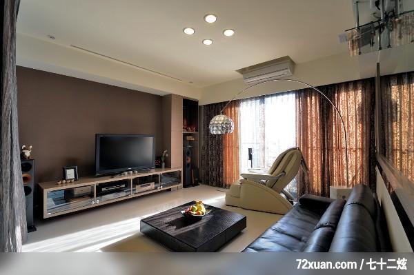 李燕堂,客厅,冷气摆放设计,造型电视主墙,视听柜,收纳柜,投影幕布