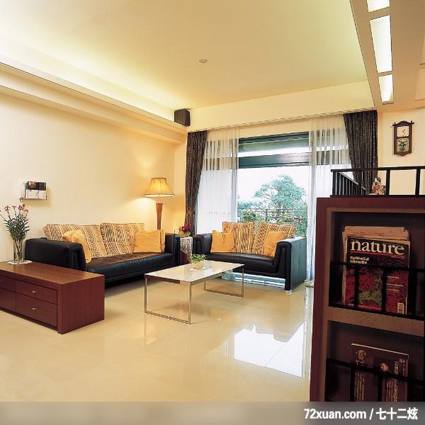 客厅,书柜,造型天花板,阳台落地窗,矮柜,装修效果图 第1张 家