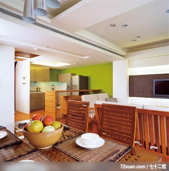 设计,周建志,餐厅,冰箱收纳柜,造型电视主墙,冷气摆放设计,高清图片