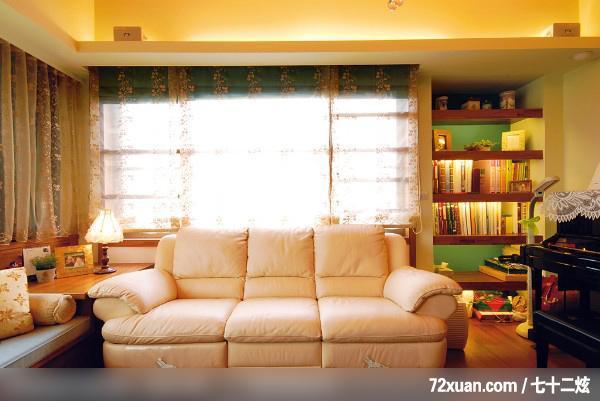 黄传林,客厅,造型天花板,书架层板,观景沙发座,钢琴区,装修