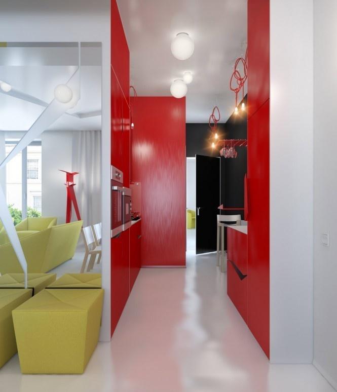 90平米小户型红色过道装修效果图 1 5高清图片