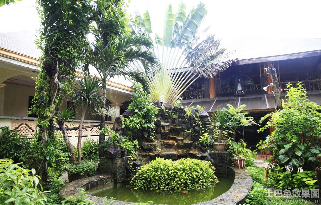东南亚风格酒店庭院景观效果图装修效果图