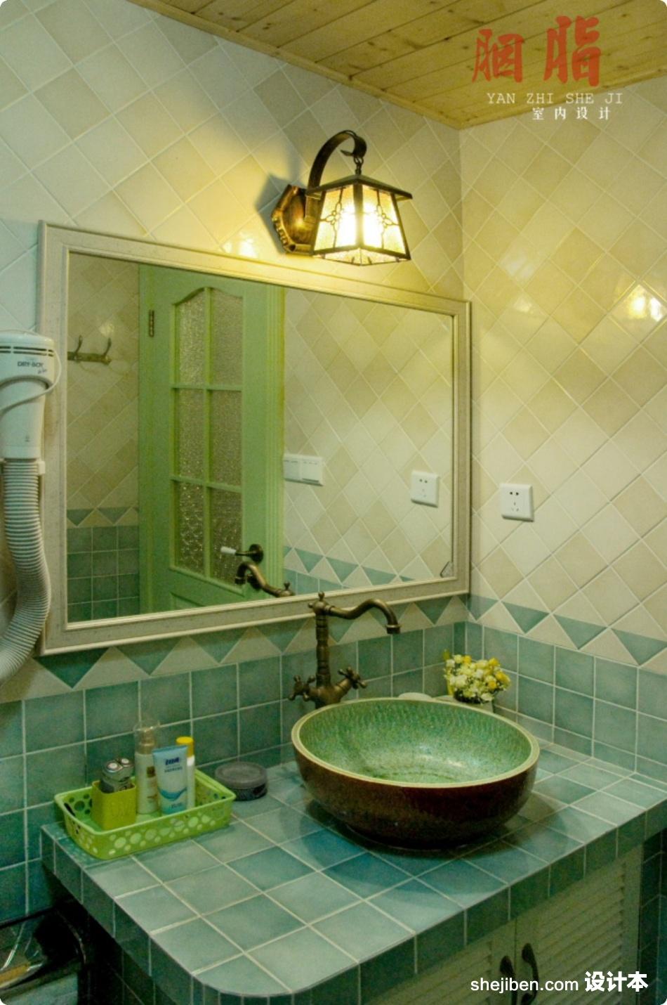 乡村风格70平米小户型洗手间装修样板间装修效果图 第8张 高清图片