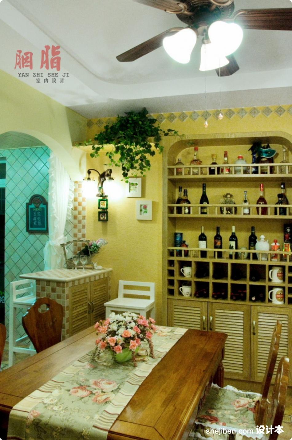 美式乡村风格70平米小户型餐厅背景墙装修效果图 (2/9)