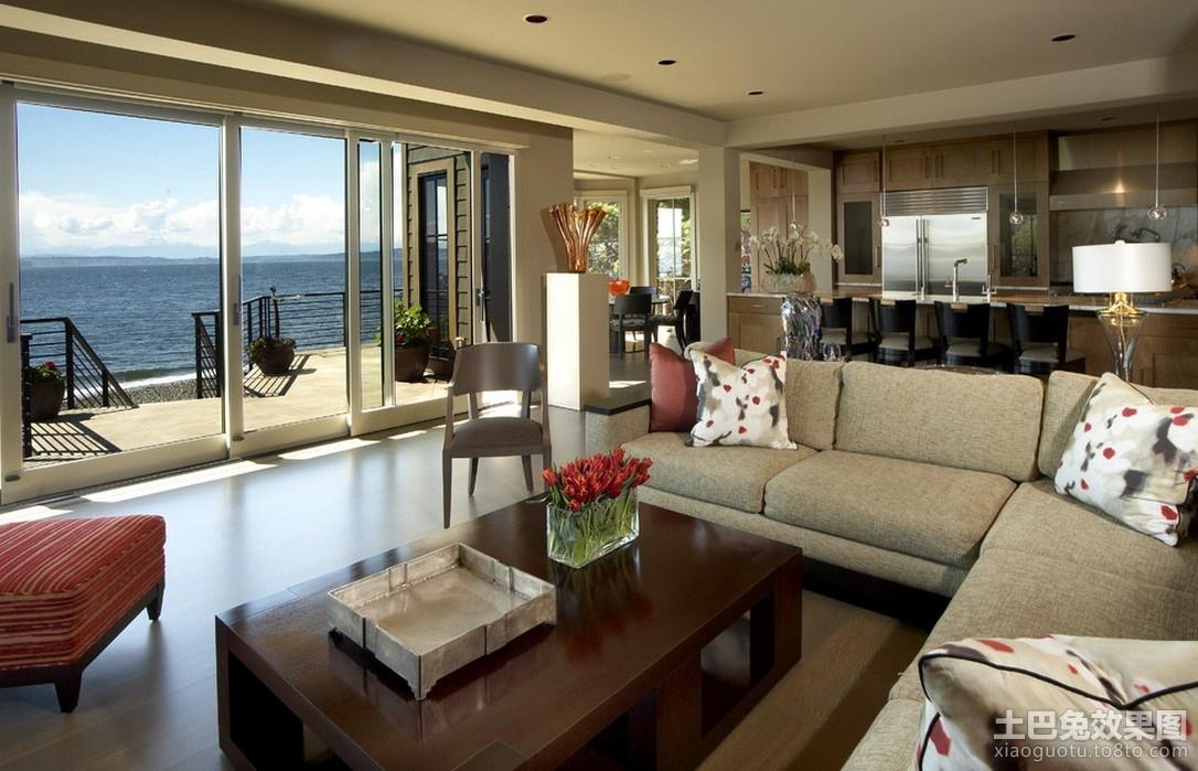 家居图库 现代简约风格海景房客厅装修效果图大全.