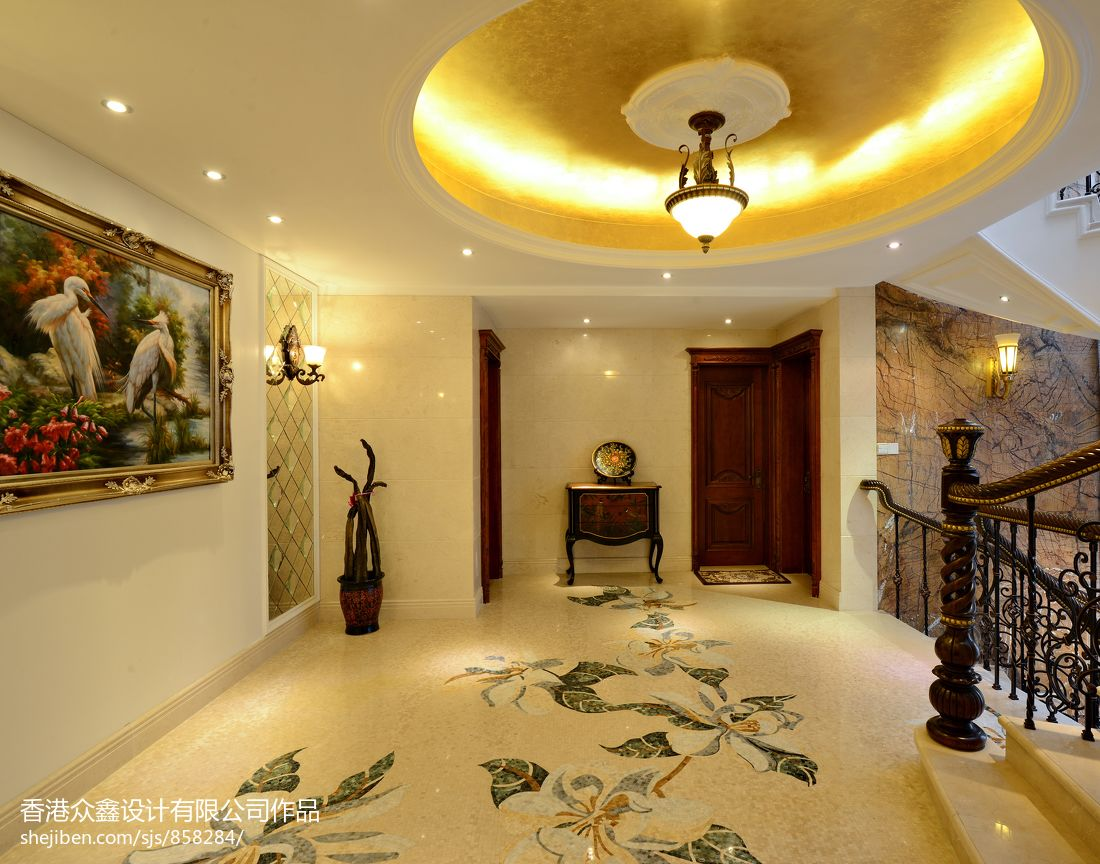 欧式别墅过道圆形吊顶装修效果图 5 9高清图片