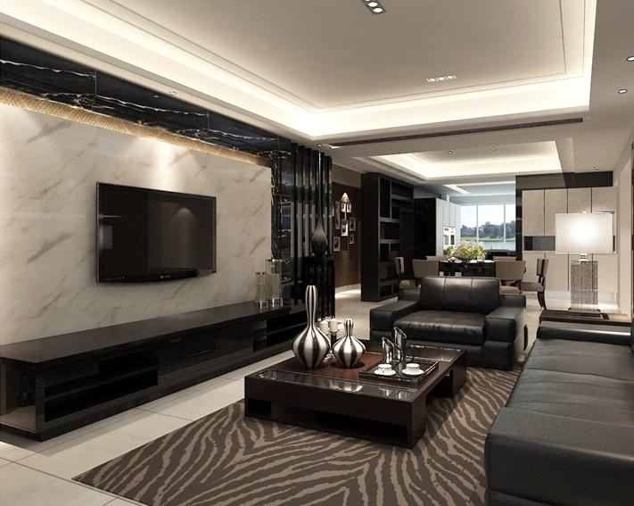 现代风格客厅装修微晶石电视背景墙装修效果图