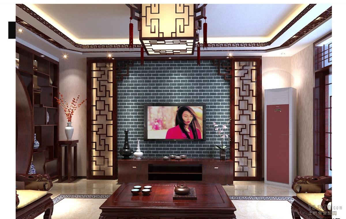 中式古典客厅背景墙装修效果图装修效果图
