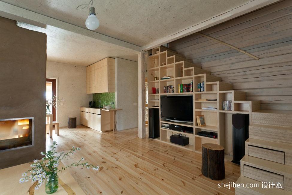120平米原木复式楼客厅背景墙设计装修效果图图片