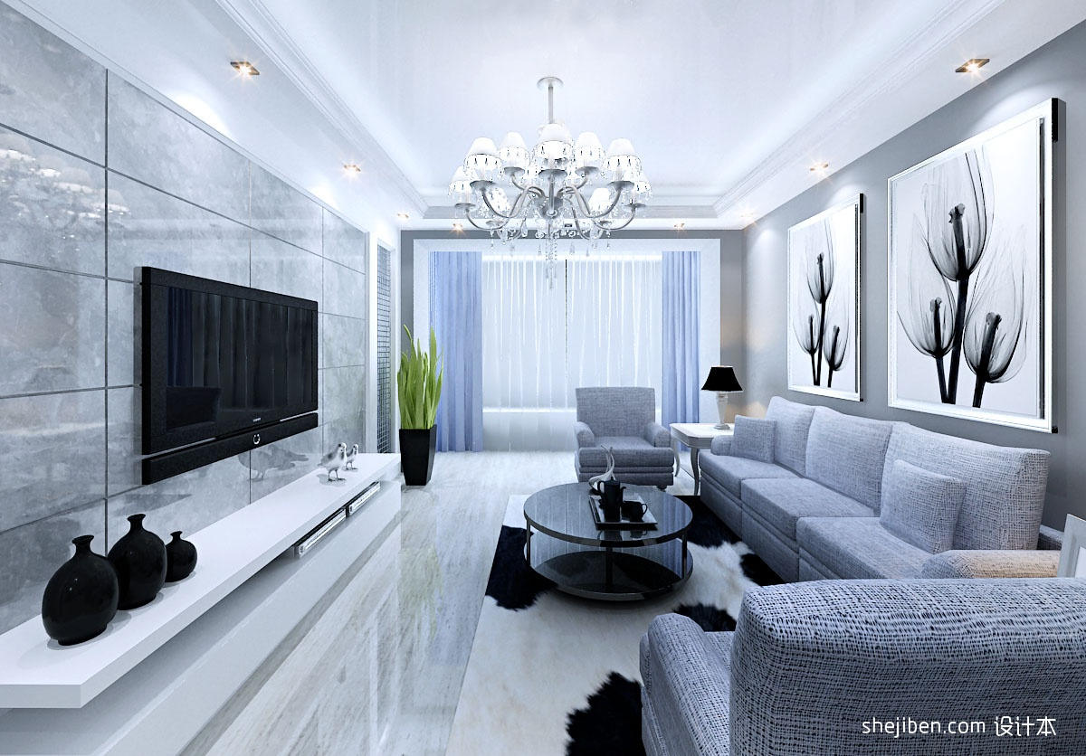 电视背景墙,大理石堆砌,打造奢华效果.