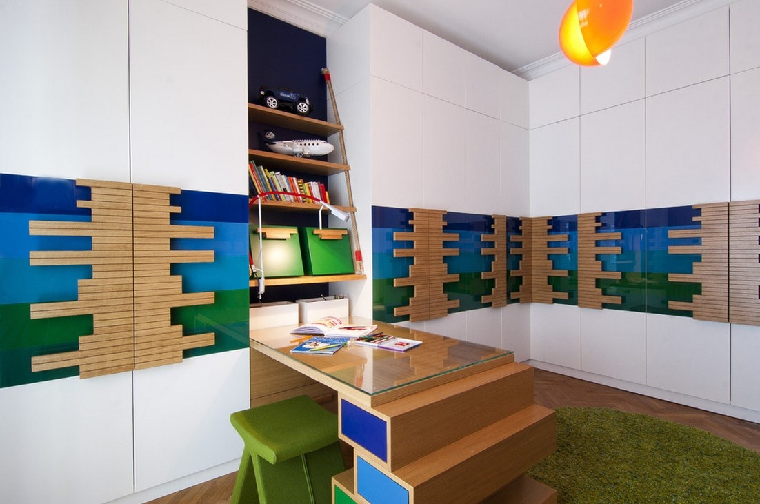 现代色彩创意书柜书房装修效果图 1 2高清图片