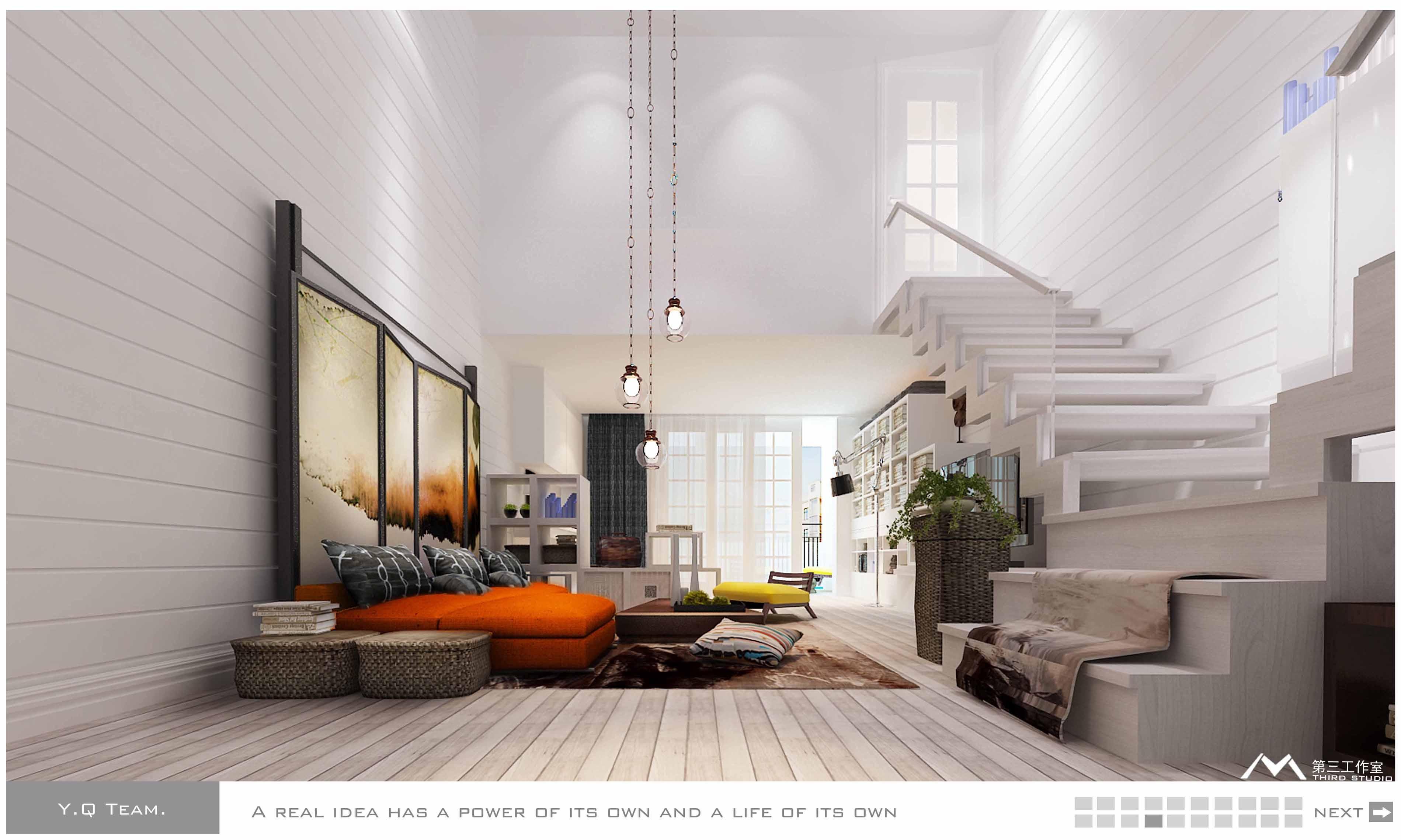 简约风格复式楼客厅装修效果图大全2012图片 (6/6)图片
