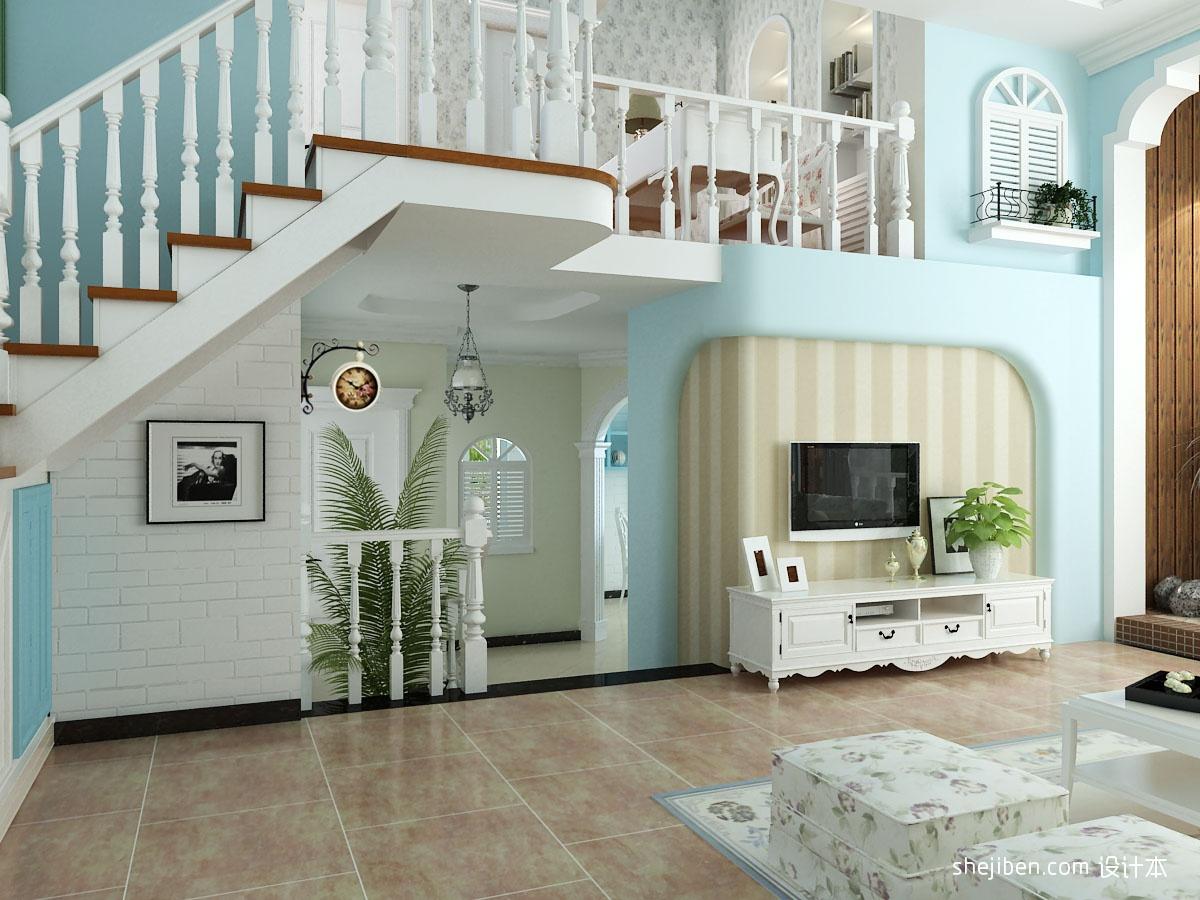 小复式楼地中海风格客厅电视背景墙装修效果图 (5/5)