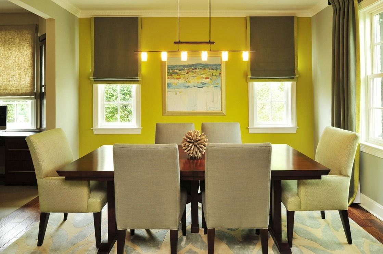 后现代风格餐厅黄色背景墙装修效果图 (1/2)
