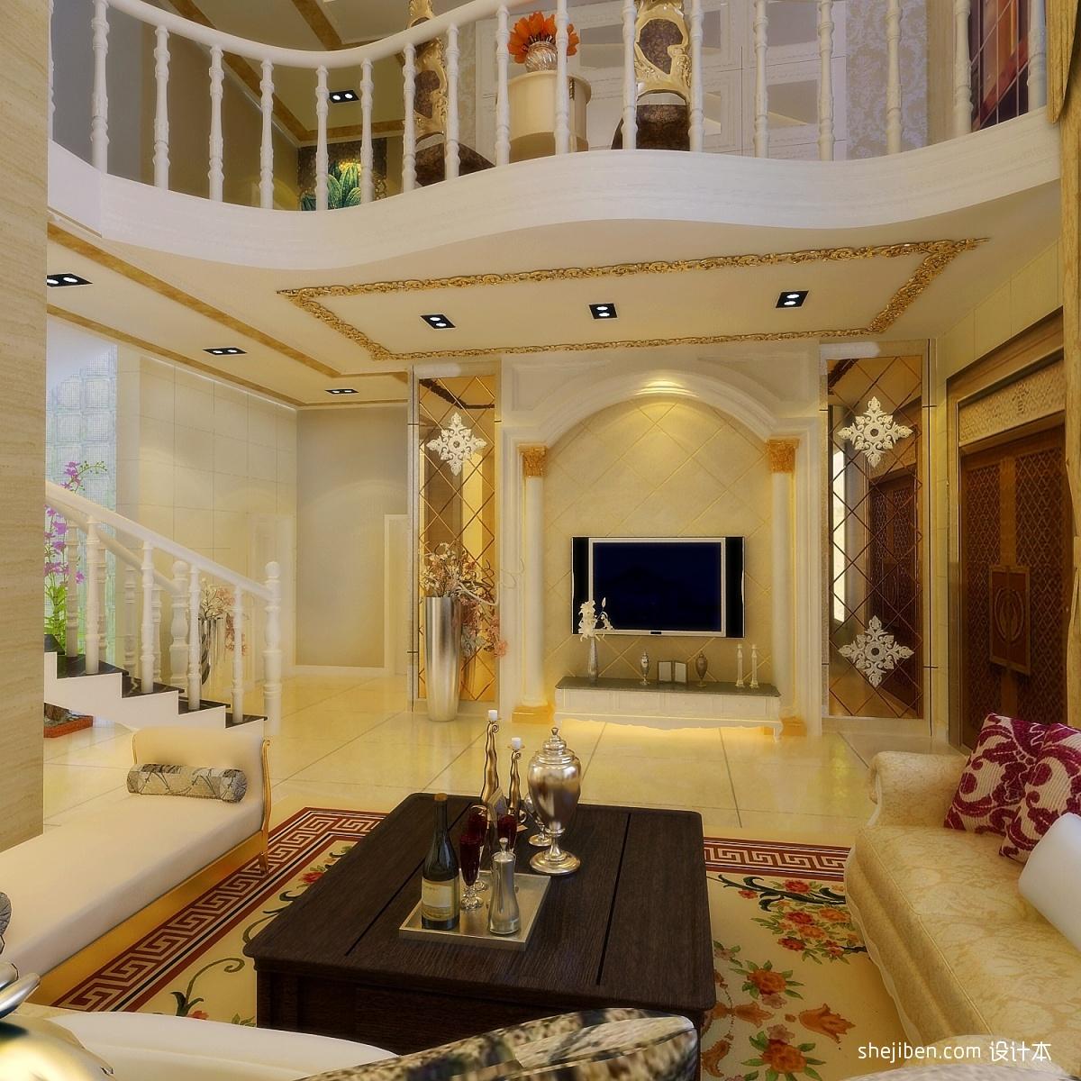 欧式别墅 奢华客厅 电视背景墙装修效果图 欣赏装