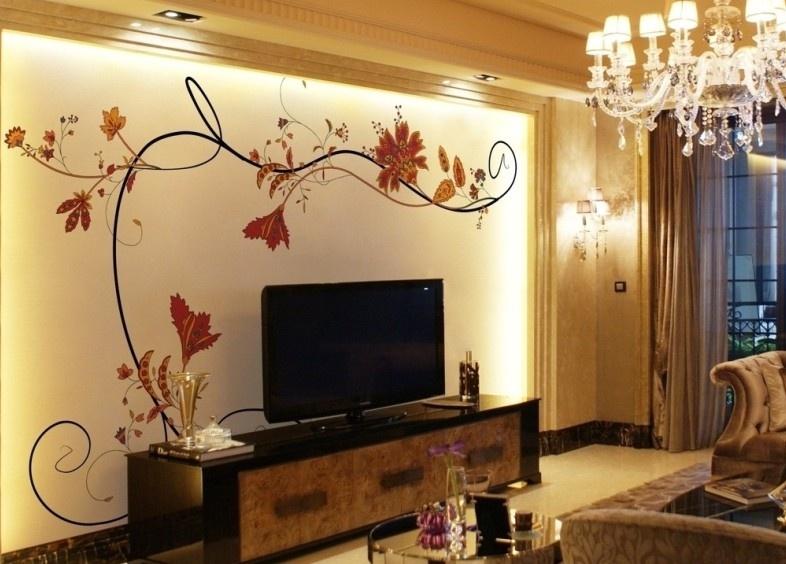 客厅手绘电视背景墙装修效果图欣赏装修效果图