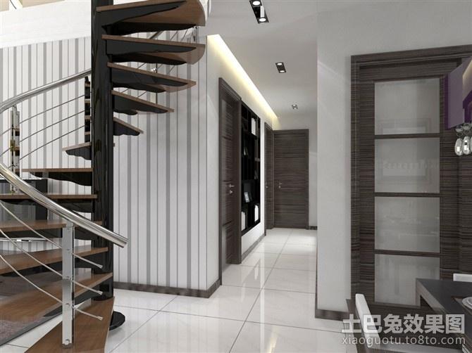 复式楼旋转楼梯装饰设计图片装修效果图
