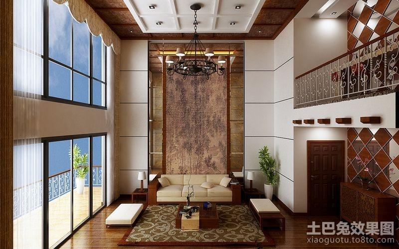 中式别墅客厅沙发背景墙装修 (2/6)