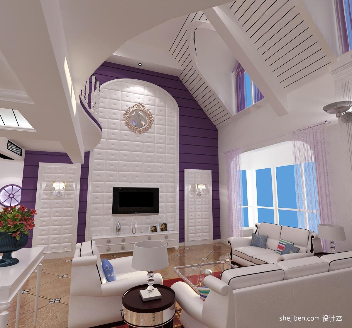 欧式别墅客厅电视背景墙装修设计 (3/3)