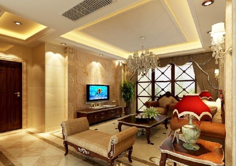 欧式客厅硅藻泥电视背景墙效果图装修效果图
