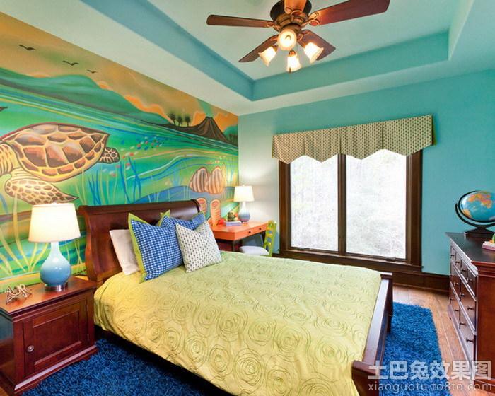 美式儿童房手绘墙图片装修效果图