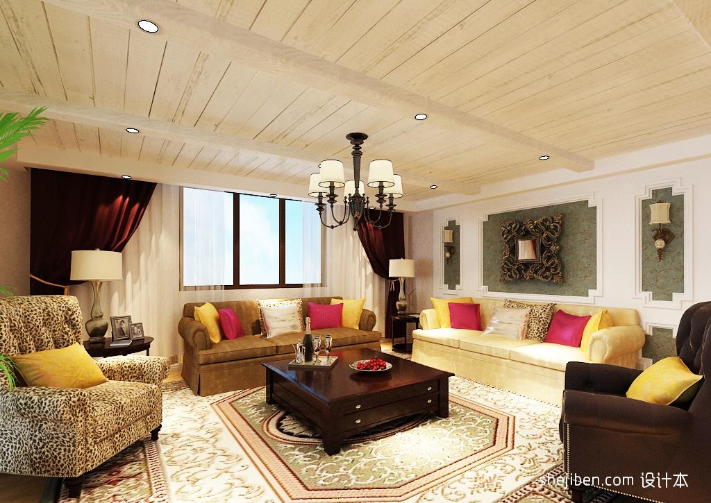 美式乡村风格别墅客厅装修效果图欣赏装修效果图 第2张 家居图库 九高清图片