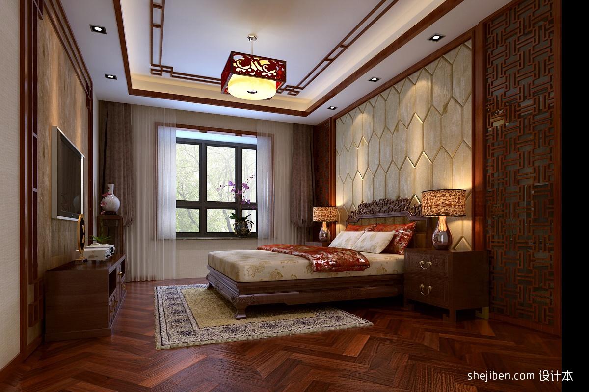 中式主卧室吊顶装修效果图 4 6高清图片