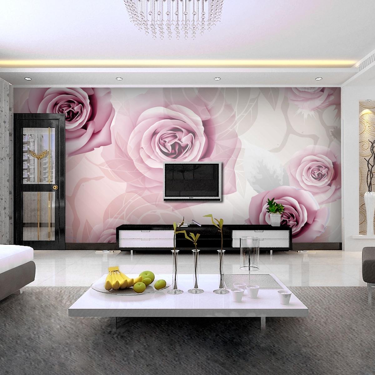 电视背景墙玫瑰壁纸图片装修效果图