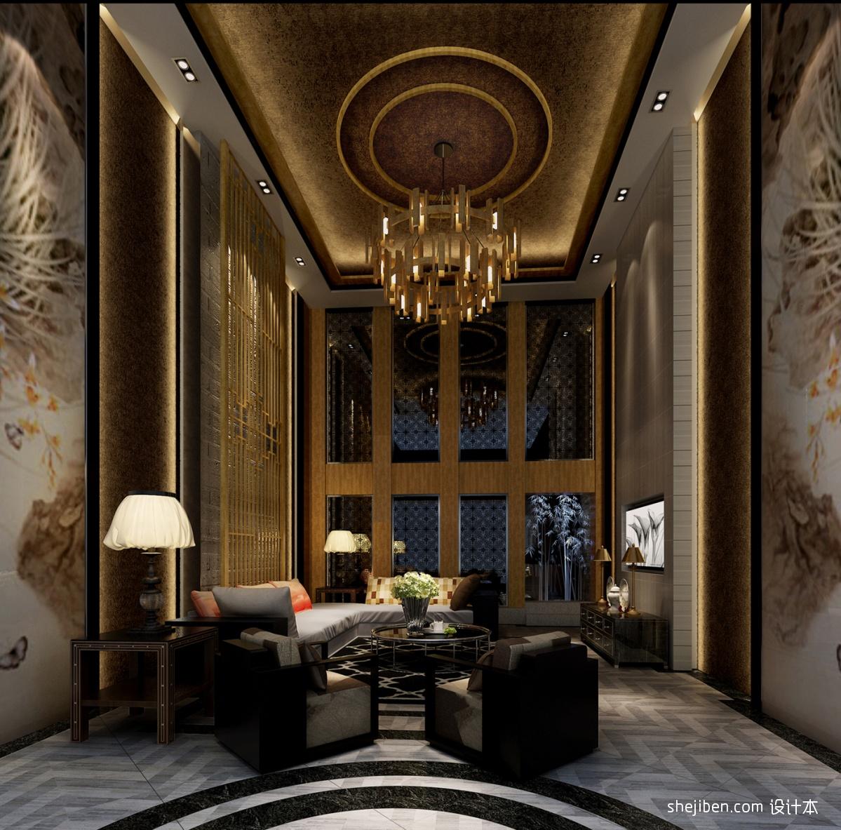 中式客厅吊顶效果图装修效果图