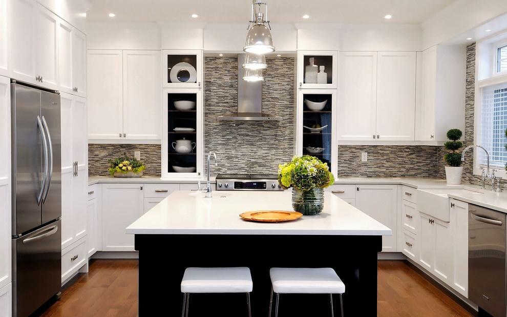 欧式简约 风格U 型 厨房装修效果图 装修效果图高清图片