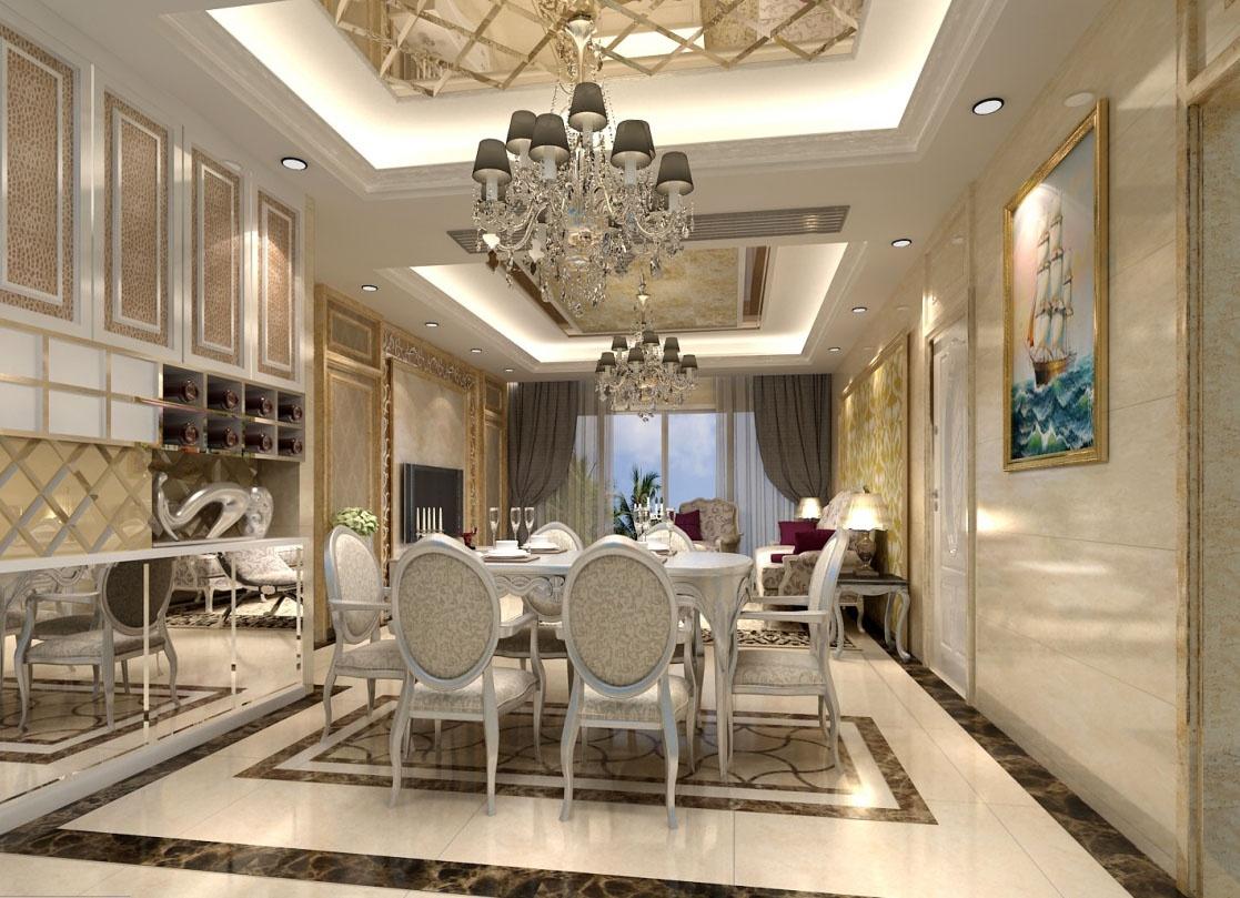 欧式风格客厅餐厅吊顶效果图 (2/4)图片