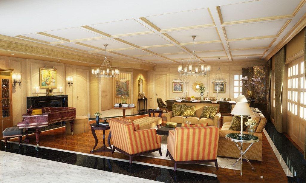 古典欧式大客厅吊顶效果图装修效果图