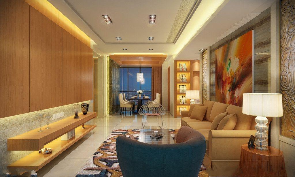 客厅双层石膏板吊顶效果图片装修效果图