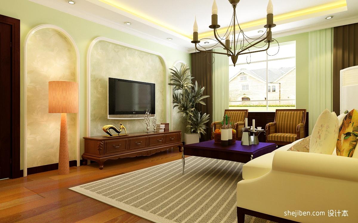 简约风格客厅电视背景墙造型装修效果图