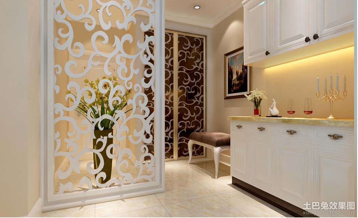 欧式现代厨房玄关隔断装修效果图装修效果图