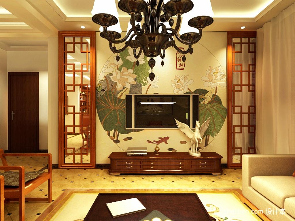 中式客厅电视背景墙壁纸效果图装修效果图