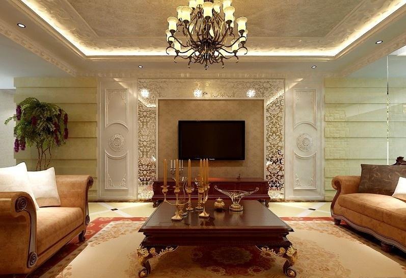 欧式别墅客厅电视墙装修设计图片装修效果图