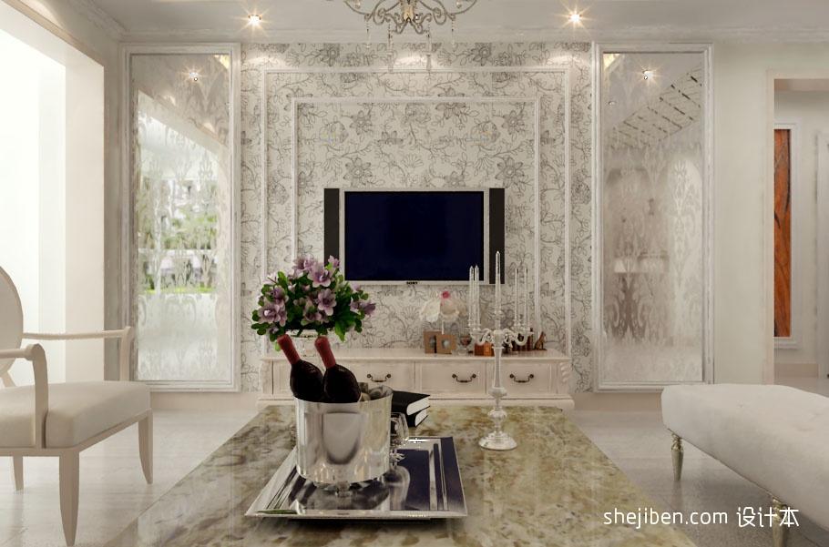 客厅电视背景墙碎花壁纸装修效果图装修效果图